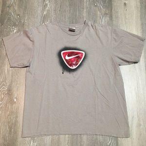 Vintage Nike graphic logo gray red black t shirt